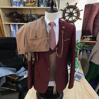 2020 Newest Designs Men's Suit 3 pieces Slim Fit Burgundy Wedding Suits for Men Groom Tuxedo Mens Suits Jacket Vest Pants Set