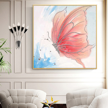 100% Hand Painted Abstract Butterfly Art Painting On Canvas Wall Adornment Pictures For Live Room Home Decor