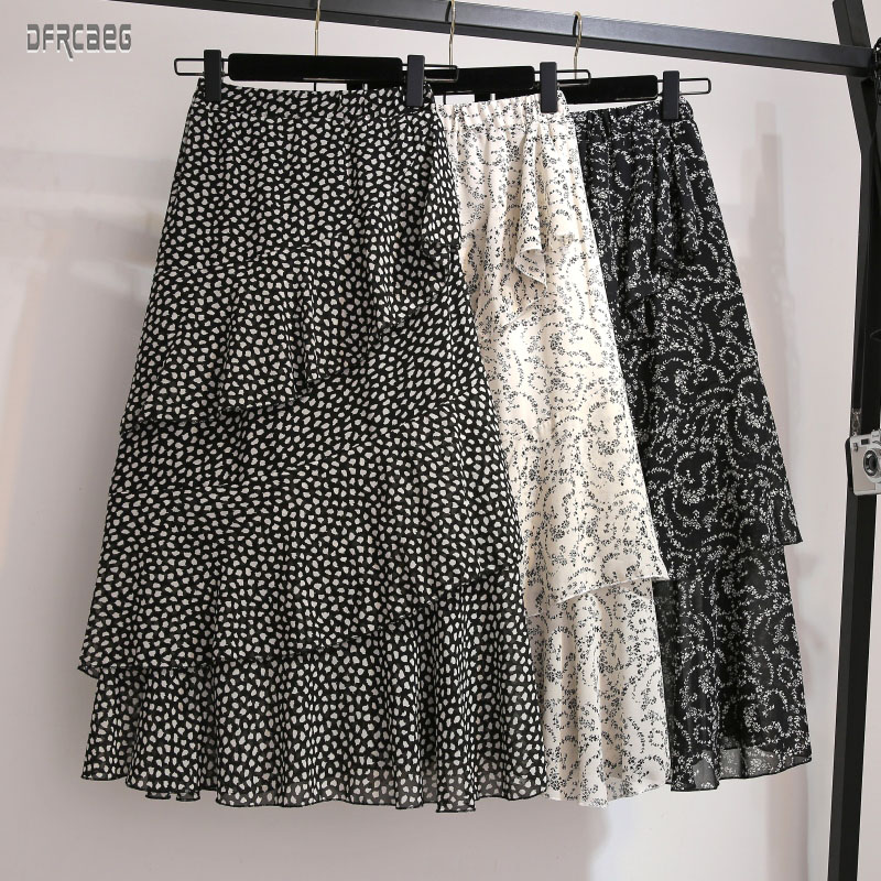 New Arrivals Summer Plus Size Elastic Waist Floral Women's Mid Skirt Spring High Waist Women Cake Skirt Chiffon Ruffles Skirt