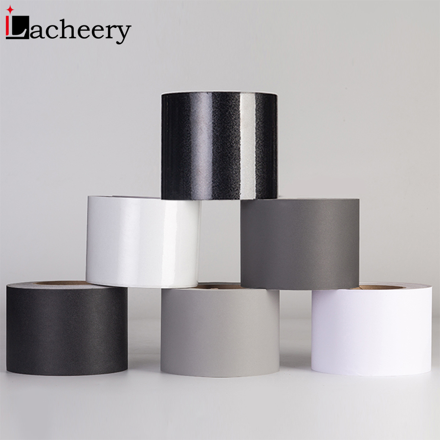 Black/White Waterproof Marble Waist Line Wall Sticker Windowsill Floor Wall Border Decal Self Adhesive Solid Color Skirting Line