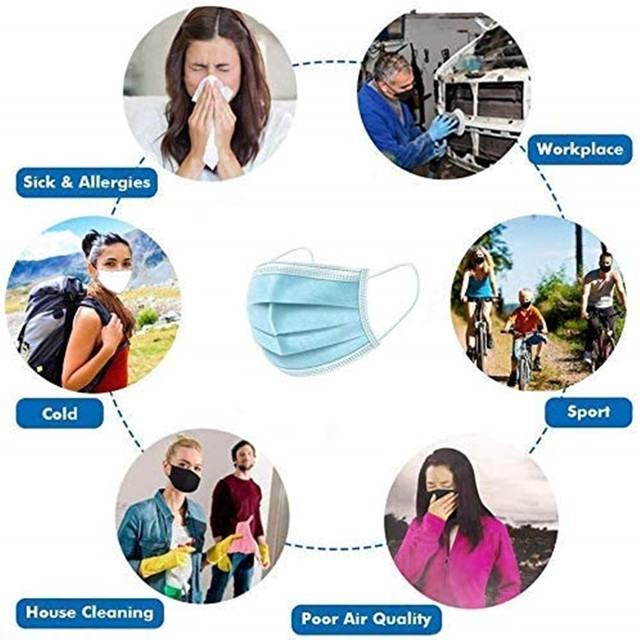 50PCS adult children disposable mouth Nonwoven mask smog Antivirus masks flu 3 Layer Meltblown Ply Filter Mouth Face Mask 4