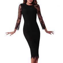 sales beach Boho party sexy dresses vestido Women's Casual O Neck Long Sleeve Lace Patchwork Party Wedding Guest Dress S-2XL(China)