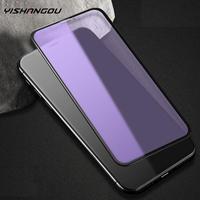 Protector de pantalla frontal para iPhone, Protector de pantalla de vidrio templado con luz azul y púrpura para iPhone 11 12 Pro Max SE 2 XS Max XR X 6s 6 7 8 Plus