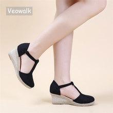 Veowalk Bohemian Women Handmade Linen Cotton Wedge Espadrilles Sandals T-Strap Summer Comfortable High Heel Platforms Shoes