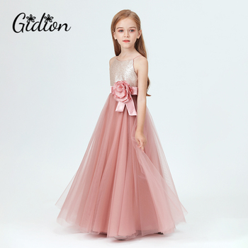 Tulle Flower Girl Dress Party Appliques Long Sleeve For Wedding Birthday Ball Gown First Holy Communion Prom Dresses new baby princess flower girl dress lace appliques wedding prom ball gown pink birthday communion toddler kids tutu dress