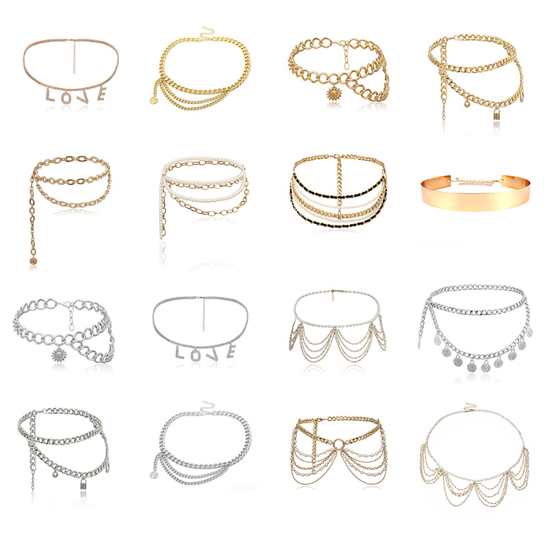 BLA Women Luxury Waist Chain Gold Silver Metal Pearl Chain Belt Ladies Retro Tassel Adjustable Jewelry Designer Chain Belts 2020
