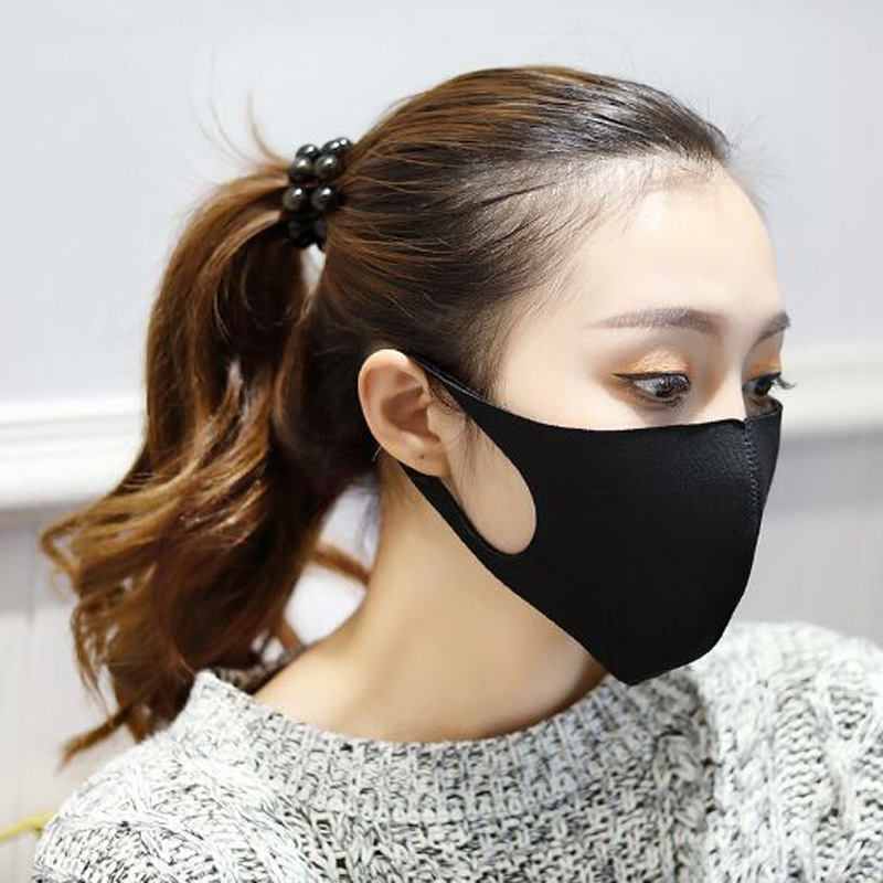 3 Pcs Fashion Black Prevent Dust Haze Breathable Masks Same Style Of Stars Bamboo Charcoal Women Men Ice Silk Mouth-muffle