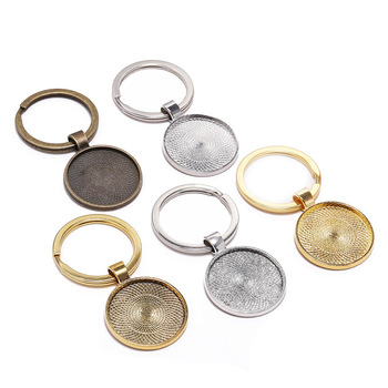 5pcs/lot Keychain With Pendant Bezel Blank Fit 25mm Cameo Glass Cabochon Base Setting DIY Keychain Key ring Supplies For Jewelry 5pcs lot 10 50mm cameo rectangle bezels blank pendant cabochon base setting for jewelry making accessories supplies