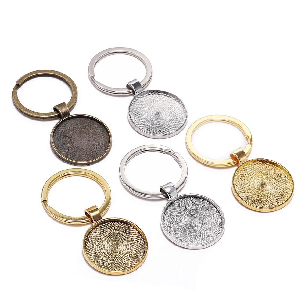 1 x Antique Bronze Cabochon Porte-Clé Vierge Pendentif cadre pour 25 mm verre