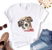 Cachorro arco impressão feminina camiseta de algodão casual engraçado t camisa presente para senhora yong menina camiseta superior PM-70