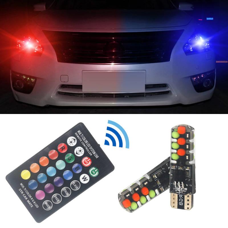 2шт T10 w5w RGB светодиодный светильник 12SMD COB canbus 194 168 автомобиль с пультом дистанционного управления вспышка/стробоскоп для чтения клиновидный ...