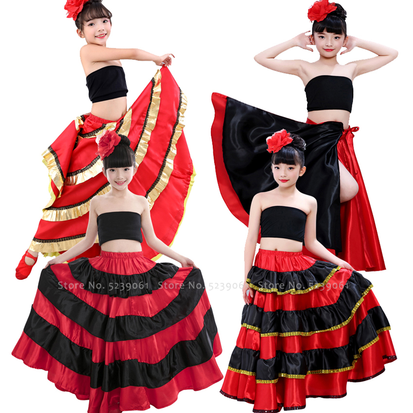 Kids Girls Belly Dance Spanish Traditional Flamenco Skirt Gypsy Style Princess Stage Party Cosplay Costume Plus Size Swing Dress