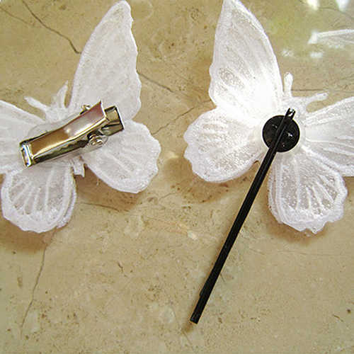 1 ピース/セットかわいいファッション蝶の赤ちゃんのヘアクリップ中国刺繍二重層女の子のためのヘアアクセサリー新生児新しい