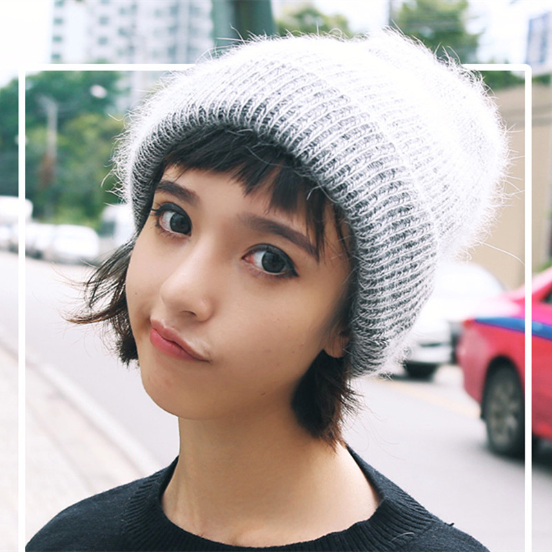 Pure-colored Rabbit Hair Literary And Art-rolled Wool-tie Hat Hat Autumn And Winter Female Tide
