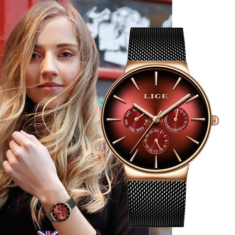 LIGE Women Watches Top Brand Luxury Sport Watch Steel Mesh Automatic Date Waterproof Quartz Watch Ladies Clock Relogio Feminino