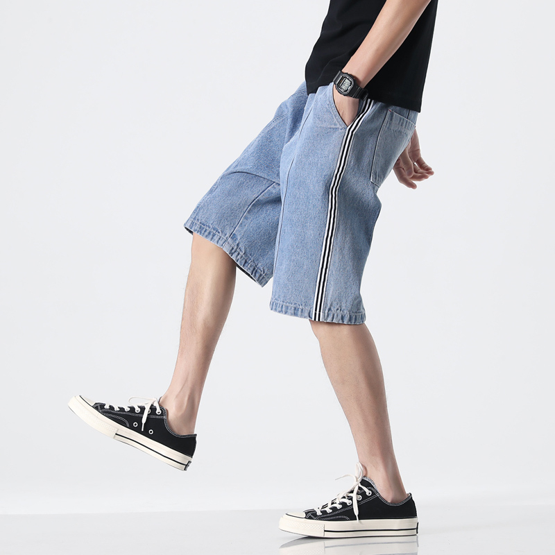 2020 Summer Jeans Shorts Mens Elastic Waist With Pocket Knee Length Male Casual Loose Denim Shorts For Men Jeans Short M-8XL image