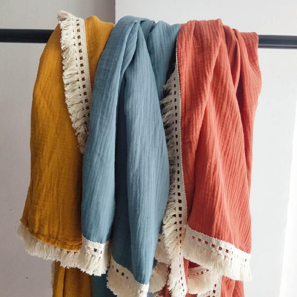 Muslin 100% Cotton Tassel Swaddles Wrap Baby Blankets Photography Props Bedding For Newborn Bath Towel Breastfeeding Cover