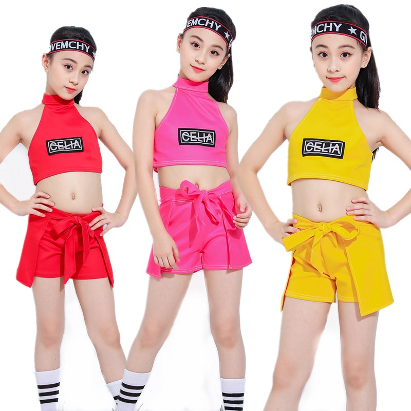 Songyuexia 2019 New Children Show Clothing Performance Hiphop Jazz Street Dance Practice Dancewear Girl Stage Dancewear