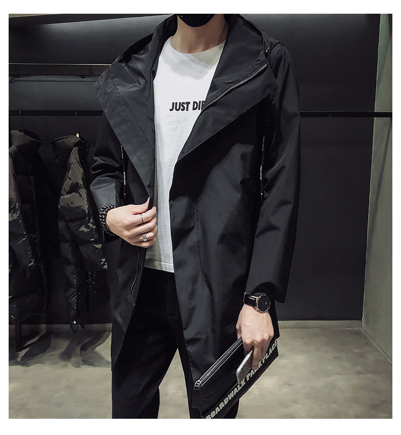 New Men's Black Trench Coat Hooded Windbreaker Coats M-4XL Casual Male Clothing Windproof Outwear