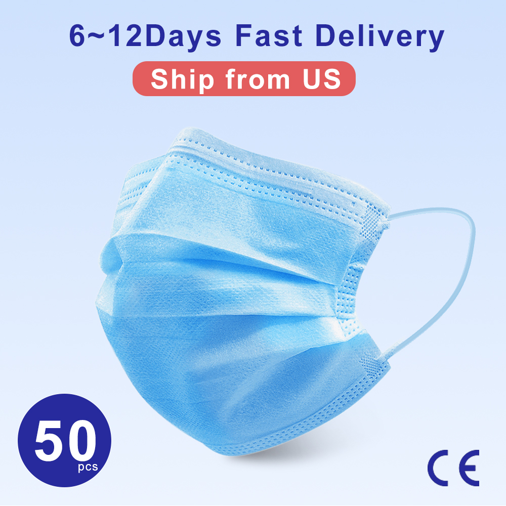 50pcs In Stock Face Masks 3 Layer Filter Mouth Mask Protection Mask Anti-dust Disposable Mask Non Woven Safe Breathable Ear Loop