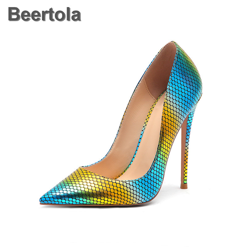 Mixed Colors Super High Heel Shoes Woman Snakeskin Pattern Pointed Toe Yellow Blue Women Shoes High Heels Elegant T-Stage Pumps