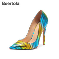 Mixed Colors Super High Heel Shoes Woman Snakeskin Pattern Pointed Toe Yellow Blue Women Shoes High Heels Elegant T Stage Pumps