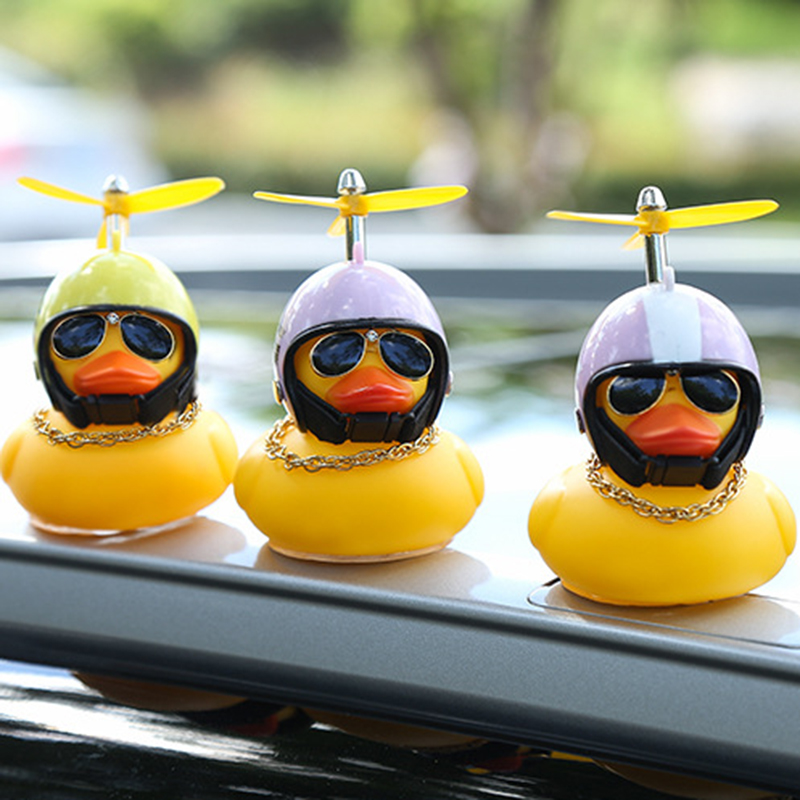 Cute Car Duck with Helmet Broken Wind Small Yellow Duck Road Bike Motor Helmet Riding Cycling Accessories Without Lights