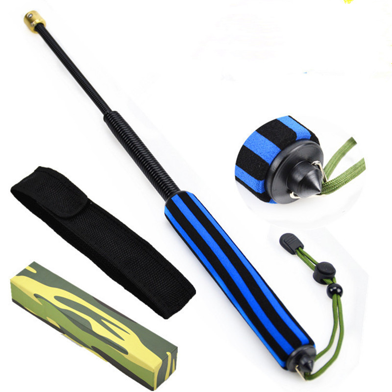 Telescopic Spring Three Rods Vehicle-mounted Whip Training Rod - Type Defensive Whip Training Software Broken Window Swinging Ro