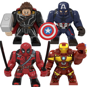 BIG Size Character Captain America Thor Iron Man Dr Strange Loki Hulk Thor Thanos Dealpool Model Figure Blocks Toys For Children