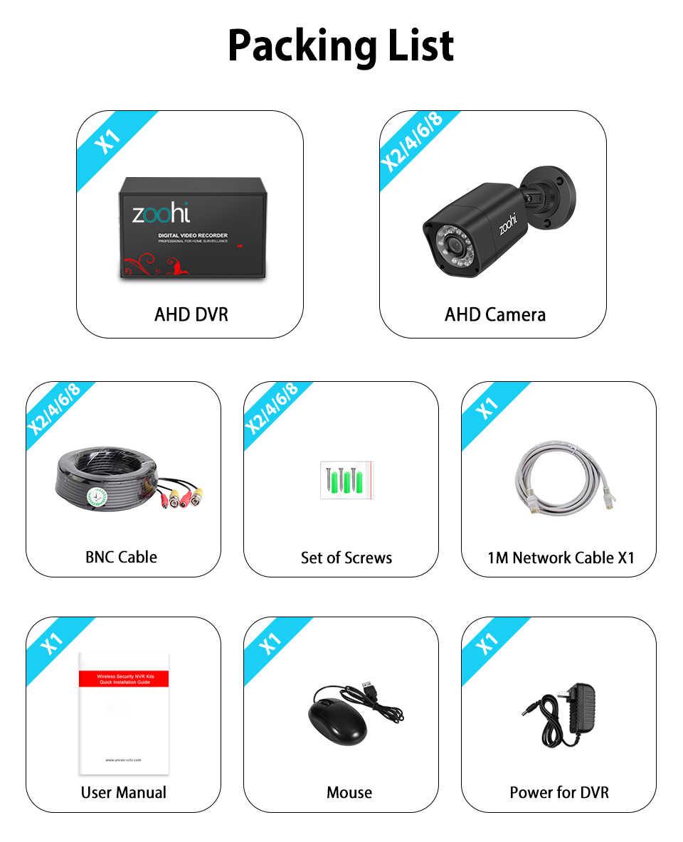 Zoohi AHD Camera Quan Sát Ngoài Trời Hệ Thống 1080P Camera An Ninh Đầu Ghi Hình Bộ Camera Quan Sát Không Thấm Nước Nhà Video Hệ Thống Giám Sát HDD P2P HDMI