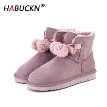 Habuckn australi женские теплые зимние ботинки модные из натуральной