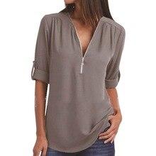 White Shirts Blouses Women Clothing Irregular Long-Sleeve Black Plus-Size Woman Zipper-Tops