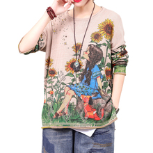 2020 Fashion Round Neck Cartoon Printing Wool Knitting Soft Thin Sweaters For Women Spring Tops Female