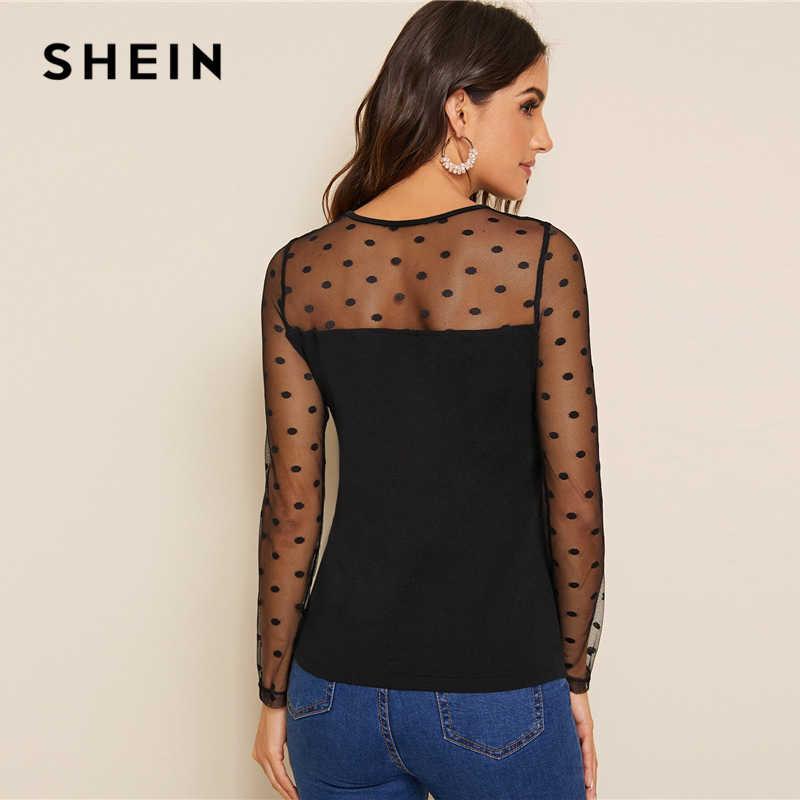 SHEIN черная сетчатая облегающая футболка с открытыми плечами, Женская Осенняя элегантная Офисная Женская футболка с длинными рукавами, Прозрачные топы
