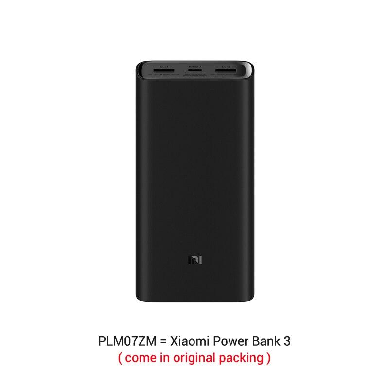 Из России- 20000 мАч Xiaomi Power Bank 3 Mi Power Bank Pro PLM07ZM с тройным выходом USB USB-C 45 Вт Двусторонняя Быстрая зарядка - Цвет: official packing