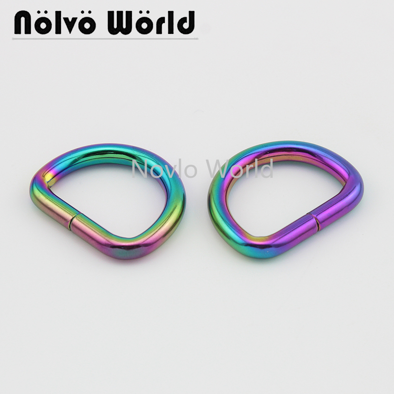 Wholesale 500pcs, Inner Width 25*19.5mm 1 Inch, Metal D Ring  Iron Wire Circle Ring Handbag Purse Opened D Buckle