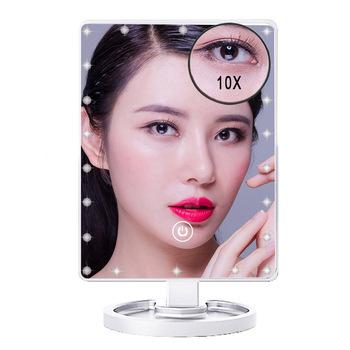 1X i 10X powiększające 22 LEDs ekran dotykowy lustro do makijażu blat stołowy jasne 180 stopni regulowane usb kabel lub baterie użytkowania tanie i dobre opinie SOLOLADY Wyposażone Plastic glass 18X25CM Makeup Mirror 1X*10X