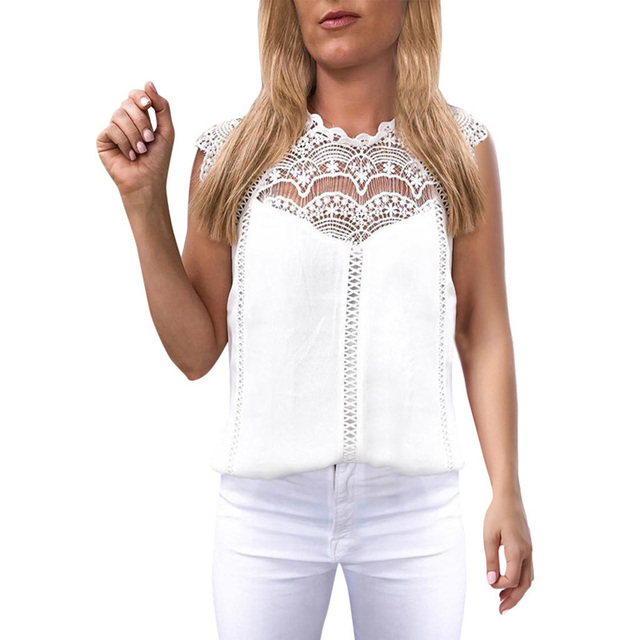 Summer 2021 Womens Tops And Blouses Lace Patchwork Sleeveless Solid Shirt Women Blouse Blusas Roupa Feminina 1