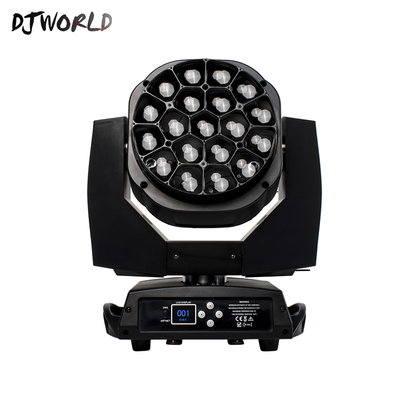 Djworld Fast Shipping LED Beam Wash Big Bees Eyes 19x15w RGBW Moving Head Lighting Zoom For DJ Nightclub Party Disco