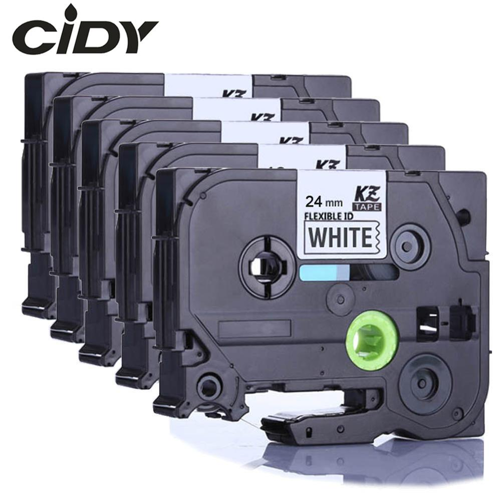 CIDY Tze-FX251 For Brother 24mm Black On White Tze Flexible Label Tapes Tze FX251 Tz FX251 Tz-FX251 For Brother P-touch Printer