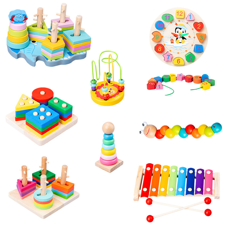 Baby & Toddler Montessori Toy Colorful Wooden Blocks Graphic Cognition Musical Instrument Wood Educational Toys For Children