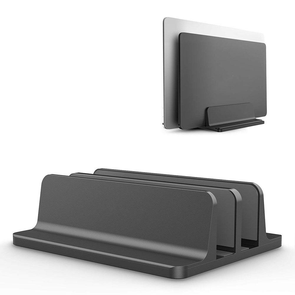 Vertical <font><b>Laptop</b></font> Stand Double Desktop Stand Holder with Adjustable <font><b>Dock</b></font> (Up to 17.3 Inch) image