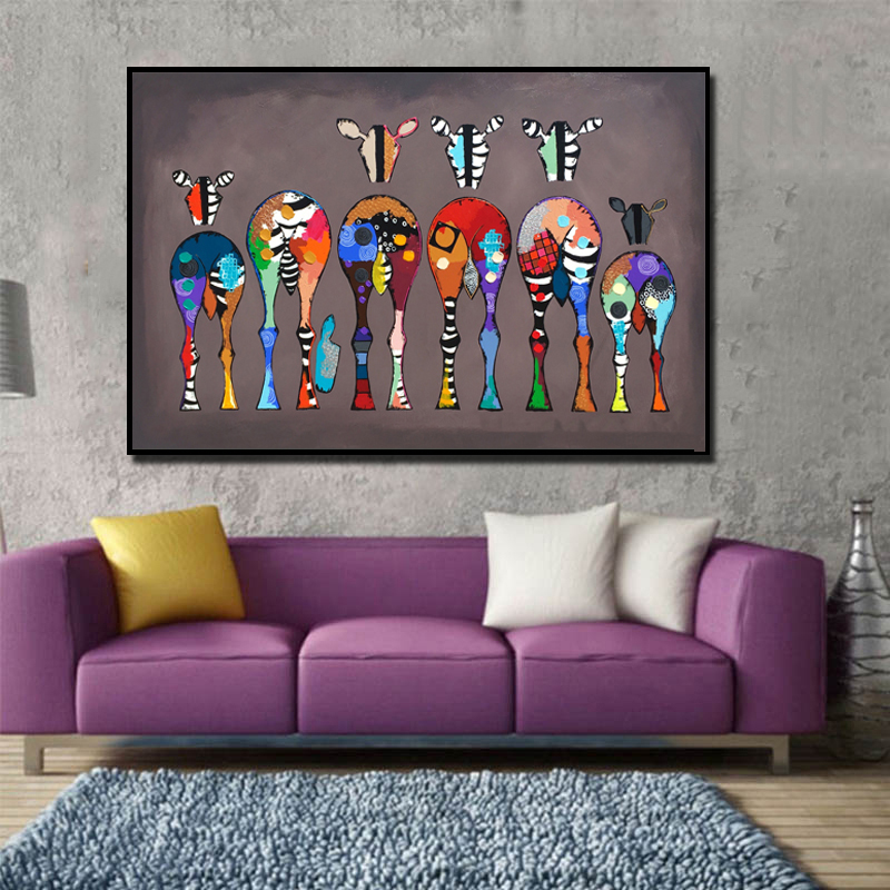 SELFLESSLY Wall Posters Canvas Painting Six Zebras Pictures For Living Room Abstract Colorful Animal Art Wall Art Prints Unframe