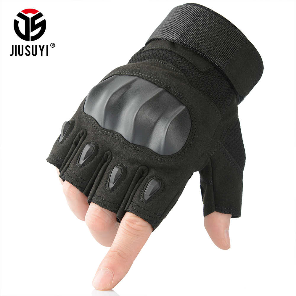 Men/'s Tactical Hard Knuckle Half Finger Army Military Fingerless Security Gloves