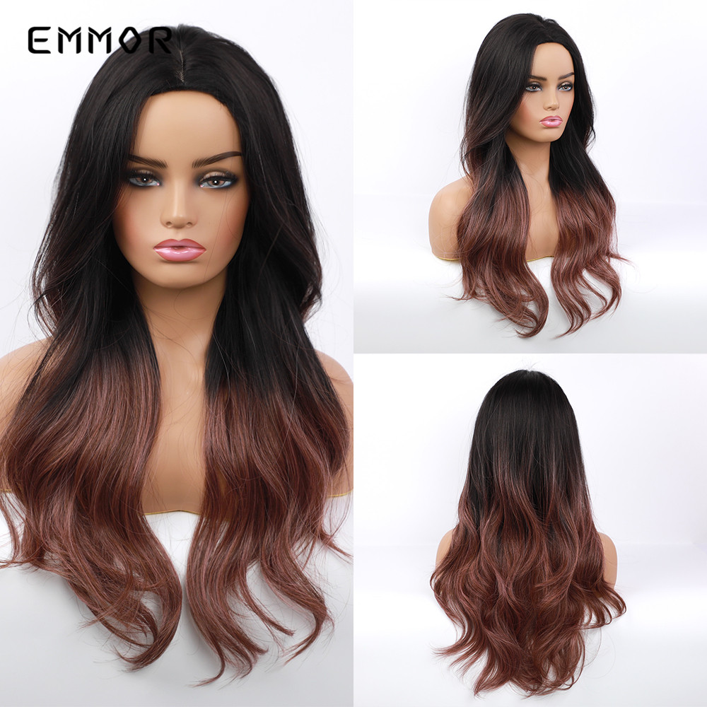 EMMOR Long Natural Wave Black To Red Brown Ombre Hair Wig For Black White Women Daily Use Synthetic Party Cosplay Wigs