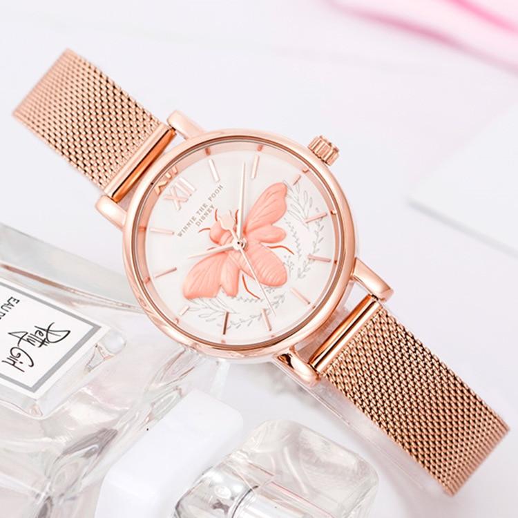 Disney brand woman wristwatches quartz luxury Little bee ladies watches stainless steel waterproof women clocks