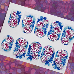 1Pc #2 3D nail decal Floral nail water transfer Rose nail sticker Nail wraps 3 d nail slide  nail slider Сharms, 25 styles ,YT54