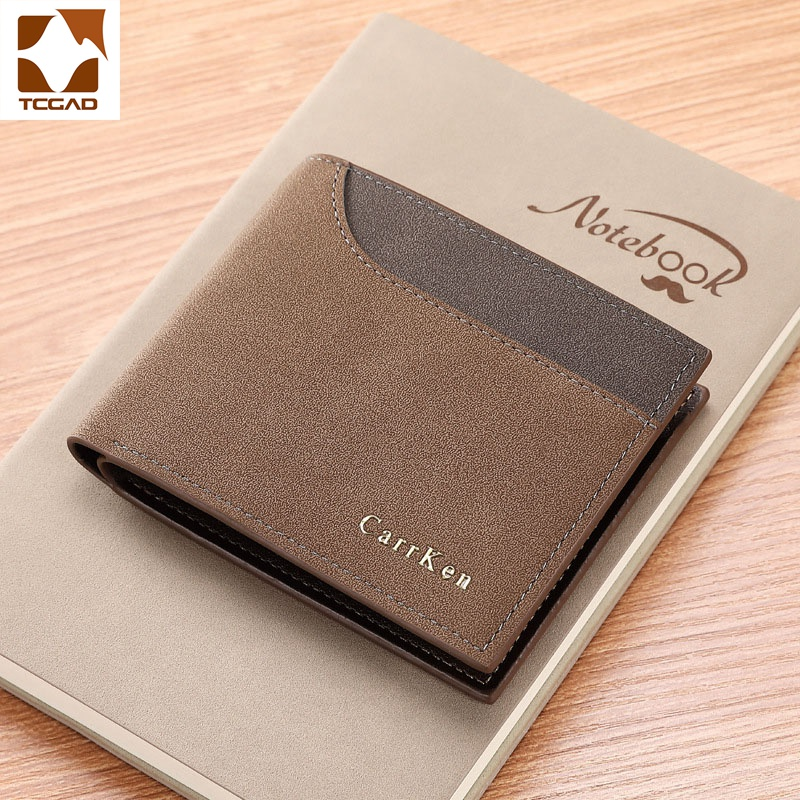 Short Men's Wallet Patchwork Small PU Three Fold Man Portafoglio Uomo Mens Wallet Leather Genuine Portemonnee Carteira Masculina