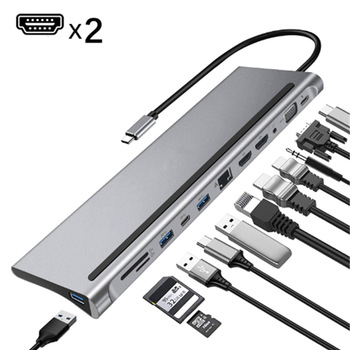 12-In-1 USB Type-C Hub to Dual -HDMI-compati Rj45 Multi USB 3.0 Power Adapter Docking Station for Laptop Support Pd Transmission 1