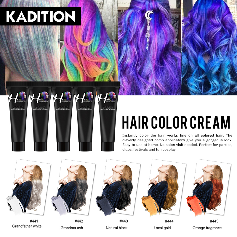 KADITION New Punk Style 9 Colors Salon Hair Color Cream Hair Dye Mascara Cream Non-toxic DIY Hair Dye Hair Care Dye Colour Cream